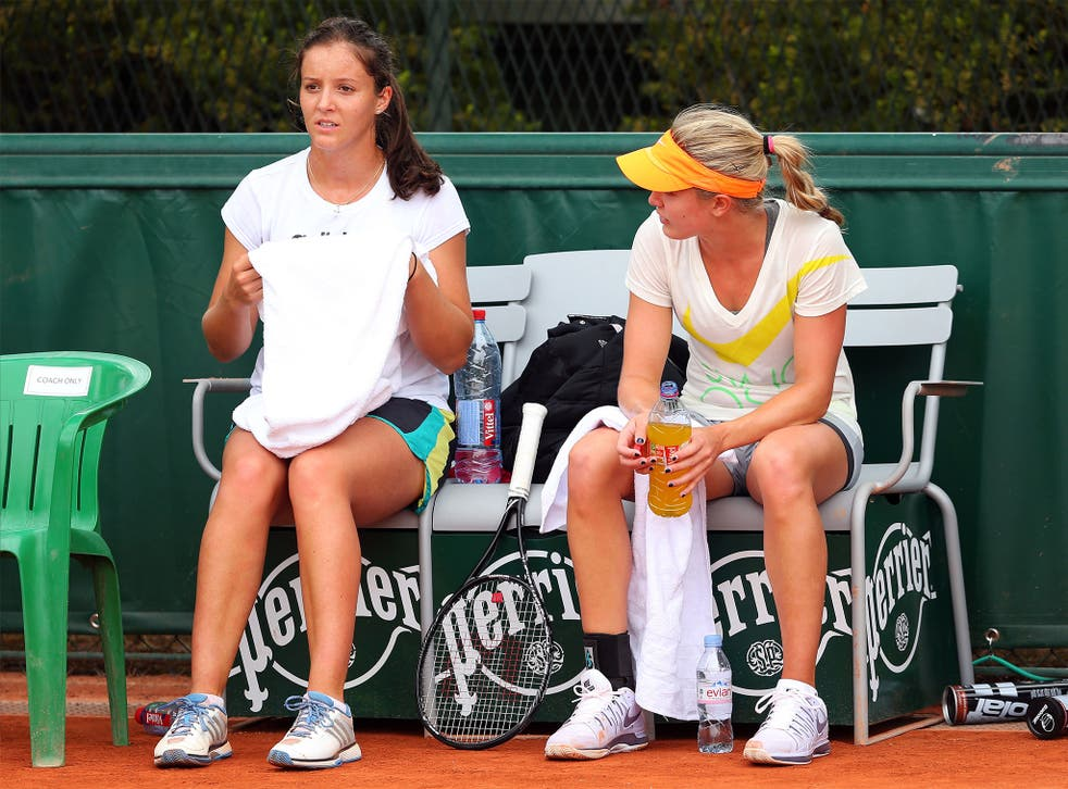 Laura Robson and Eugenie Bouchard train together at Roland Garros in 2013