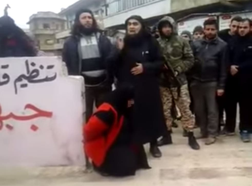 The shocking video shows a woman being executed after al-Qaeda militants claim she committed adultery