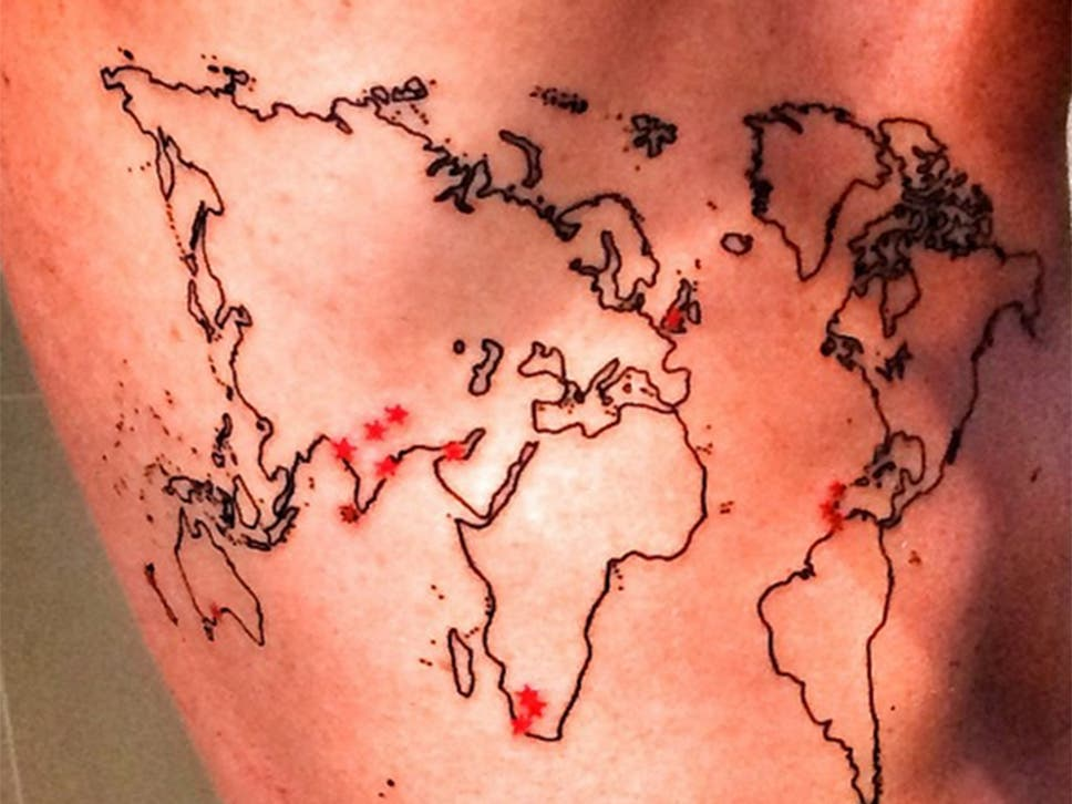 Kevin pietersen shows off tattoo of the world complete with red the former england batsman posted images on instagram gumiabroncs Gallery