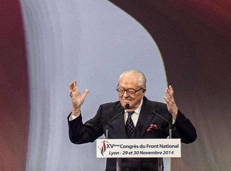 Front National founder, pictured last year, gave credence to conspiracy theories in an interview with Russian newspaper