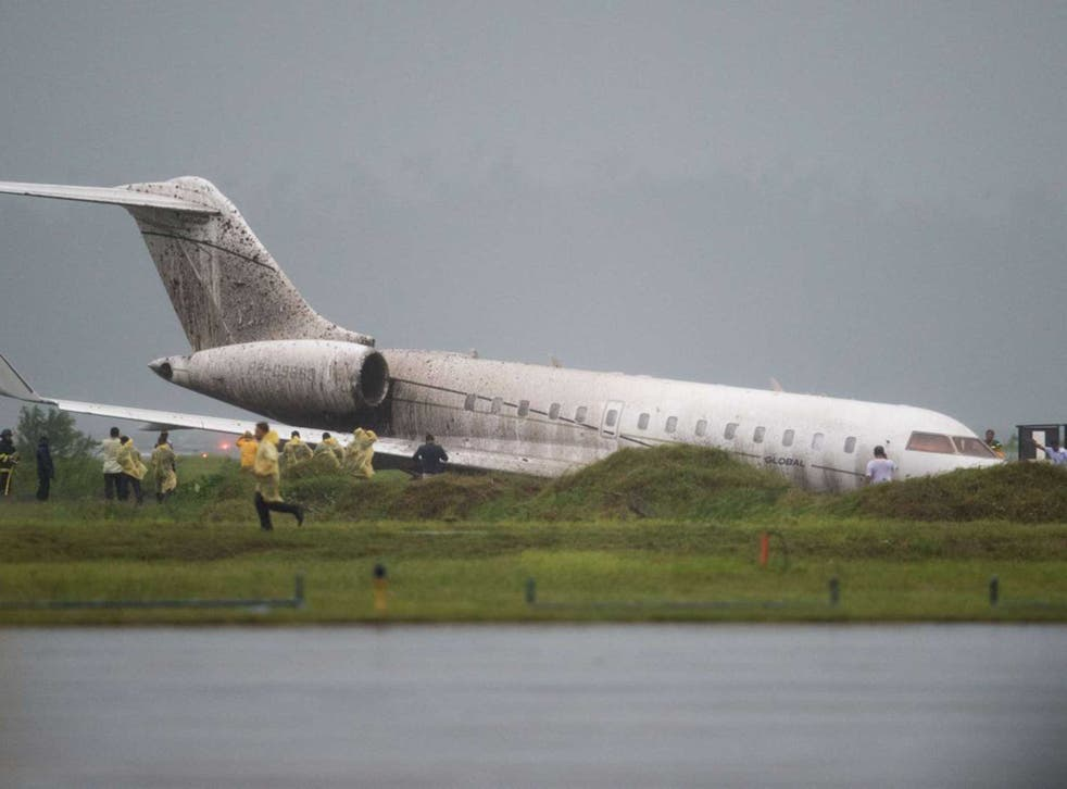 The aircraft veered off the runway after by strong winds from tropical storm Mekkhala