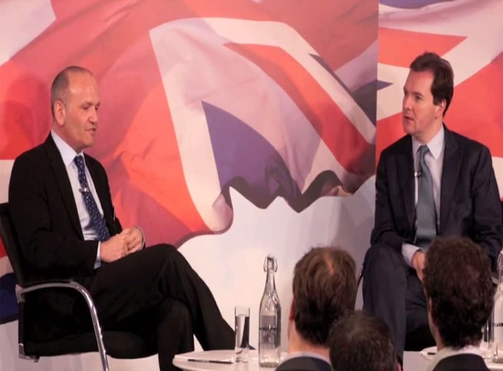 Doug Richard speaks to the Chancellor, George Osborne, during the Startup Britain launch in 2011