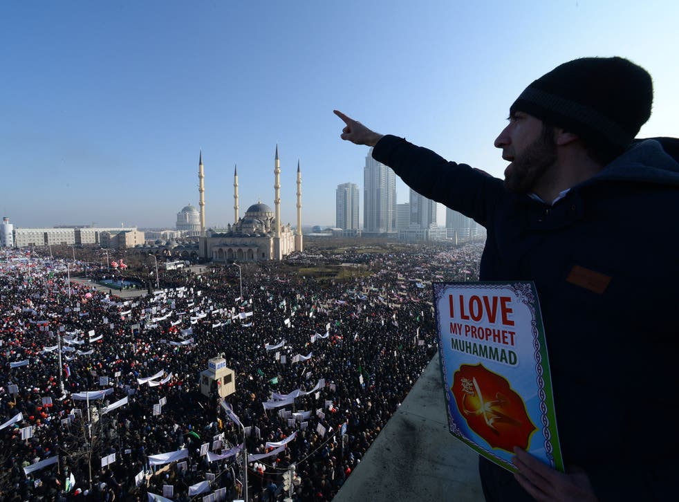 Muslims protesting against 'Charlie Hebdo' in Grozny