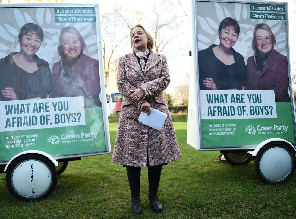 Green Party leader Natalie Bennett unveils the Green Party's general election campaign poster in London