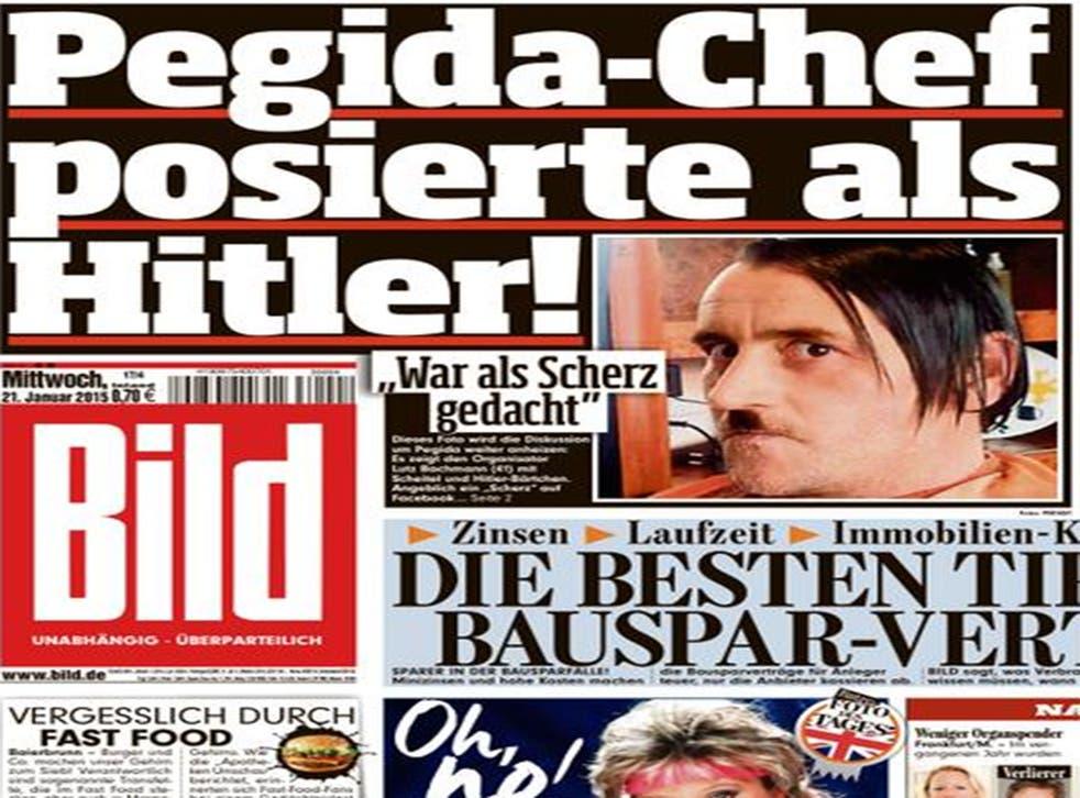 Bild's front page showing Pegida leader Lutz Bachmann 'posing as Hitler'