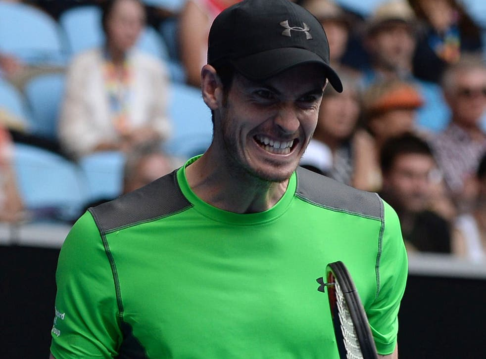 Britain's Andy Murray reacts after a point against Australia's Marinko Matosevic