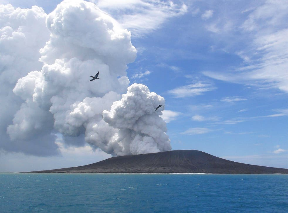 The erupting volcano,  40 miles north of the South Pacific nation of Tonga's capital, Nuku'alofa