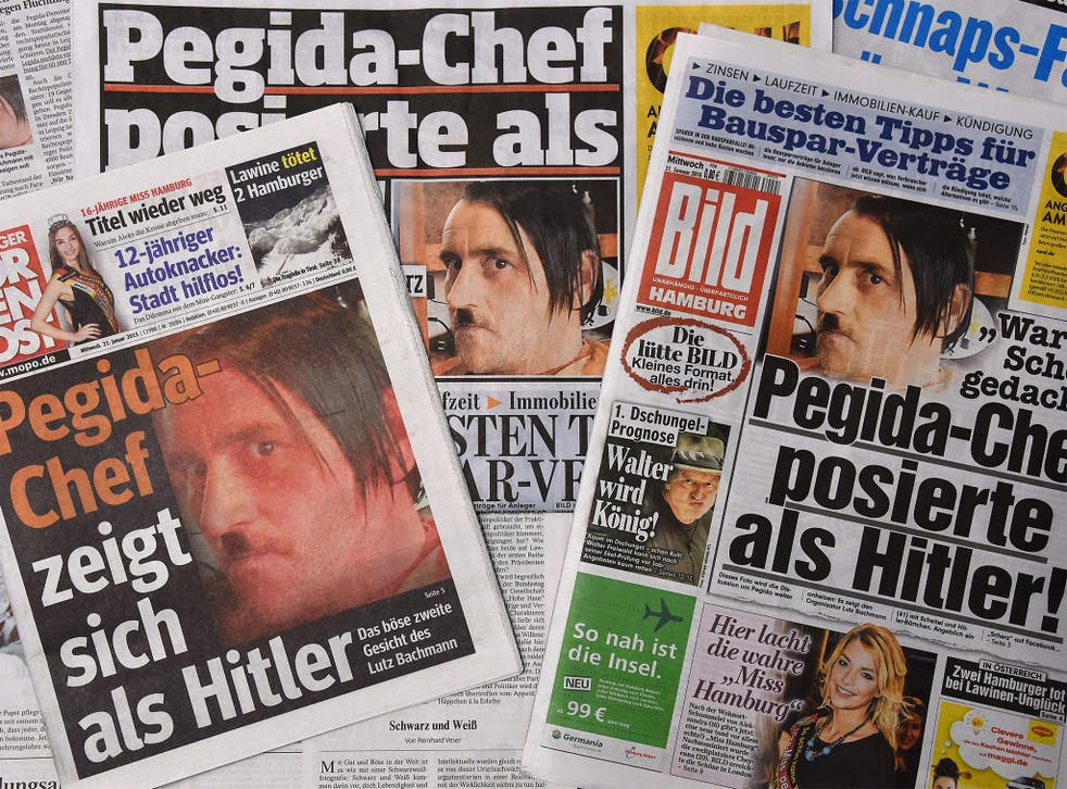 Front pages of German daily newspapers show the Pegida head, Lutz Bachmann, sporting a 'Hitler' moustache