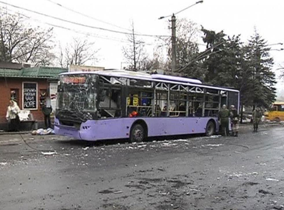 At least seven people have been killed after a shell hit a bus stop in Donetsk in eastern Ukraine