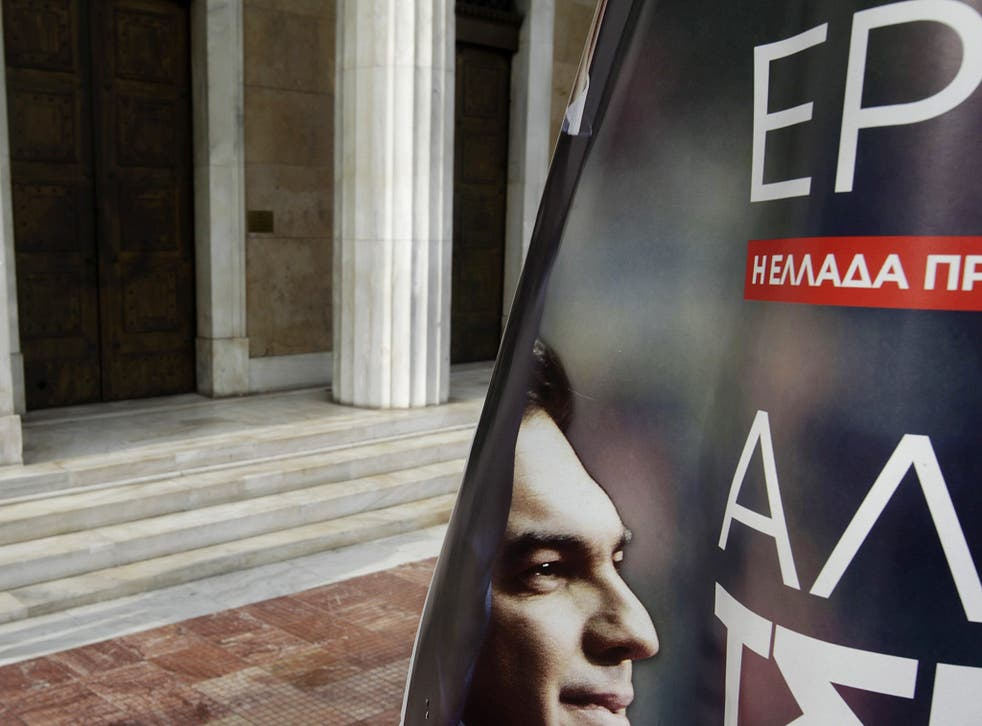 A pre-election poster of Syriza's leader Alexis Tsipras