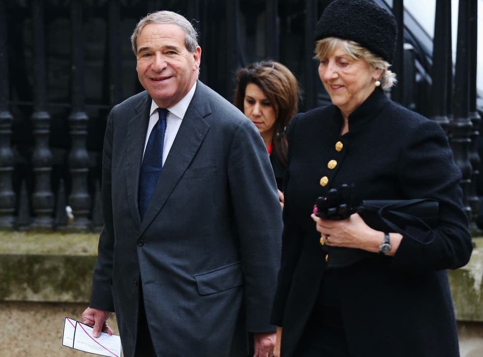 Leon Brittan arrives wife Diana for the funeral service of Baroness Thatcher