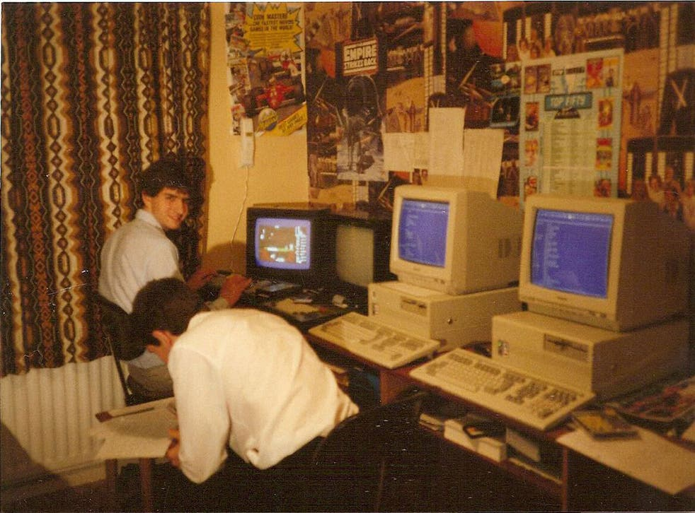 The Oliver twins, Philip and Andrew, at work creating the 'Dizzy' arcade-adventure games in 1988