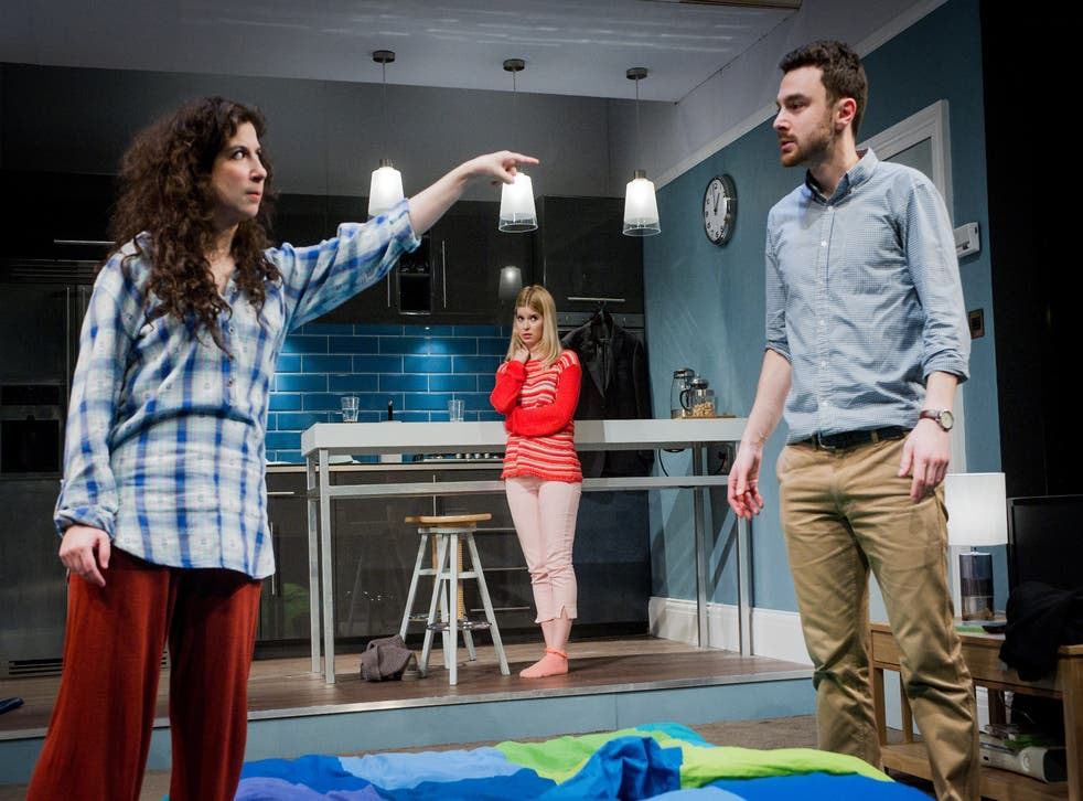 Jenna Augen (Daphna), Gina Bramhill (Melody) and Ilan Goodman (Liam) in Bad Jews at the St. James Theatre