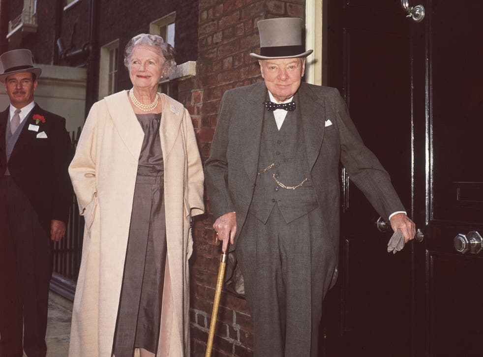 Winston and Lady Churchill leaving their Hyde Park Gate home for an Ascot race meeting on 16 June 1961
