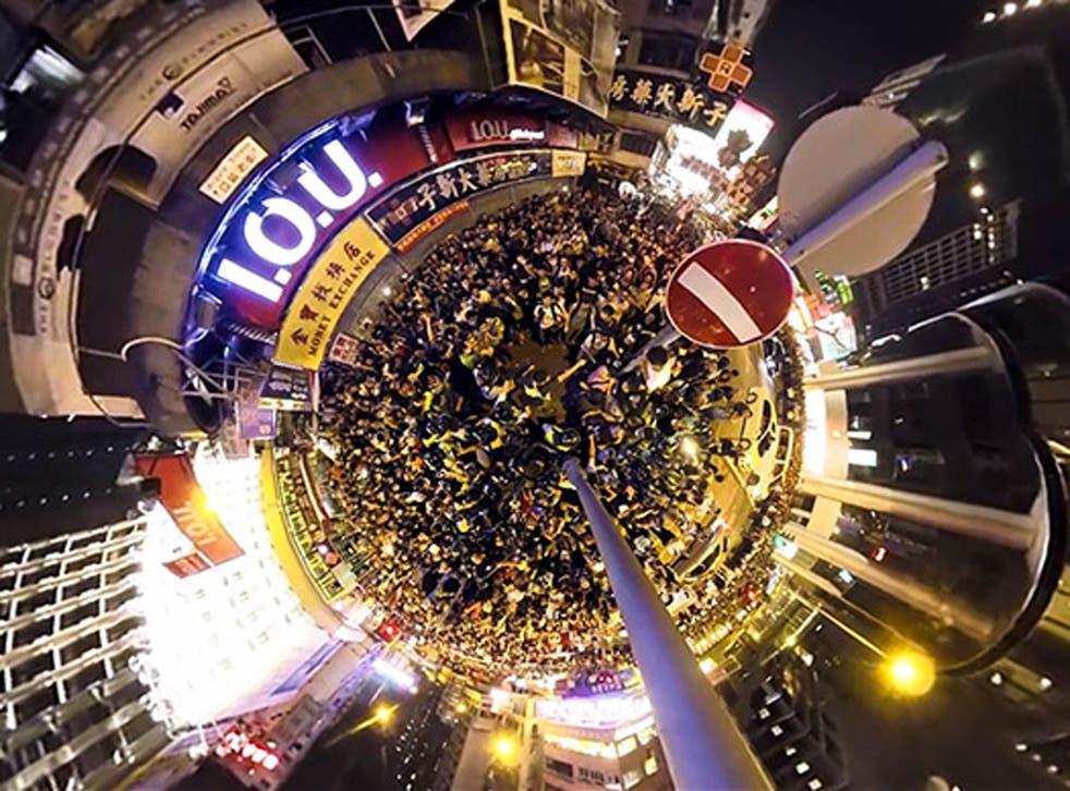 A screenshot from the Hong Kong Unrest film