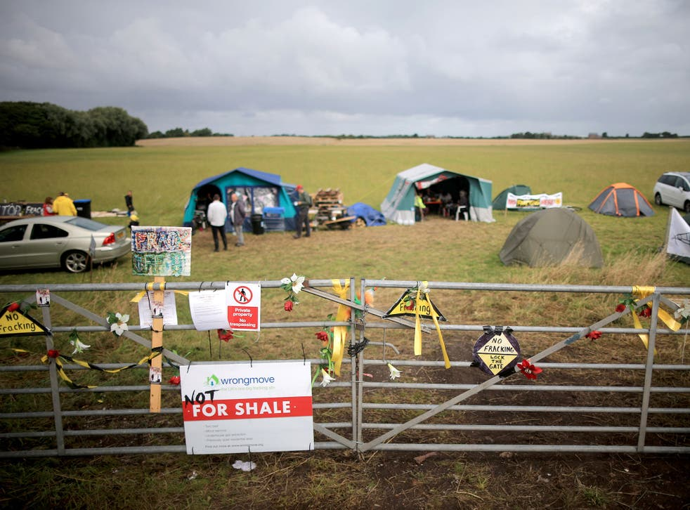 Anti-fracking activists near a proposed site at Westby, near Blackpool