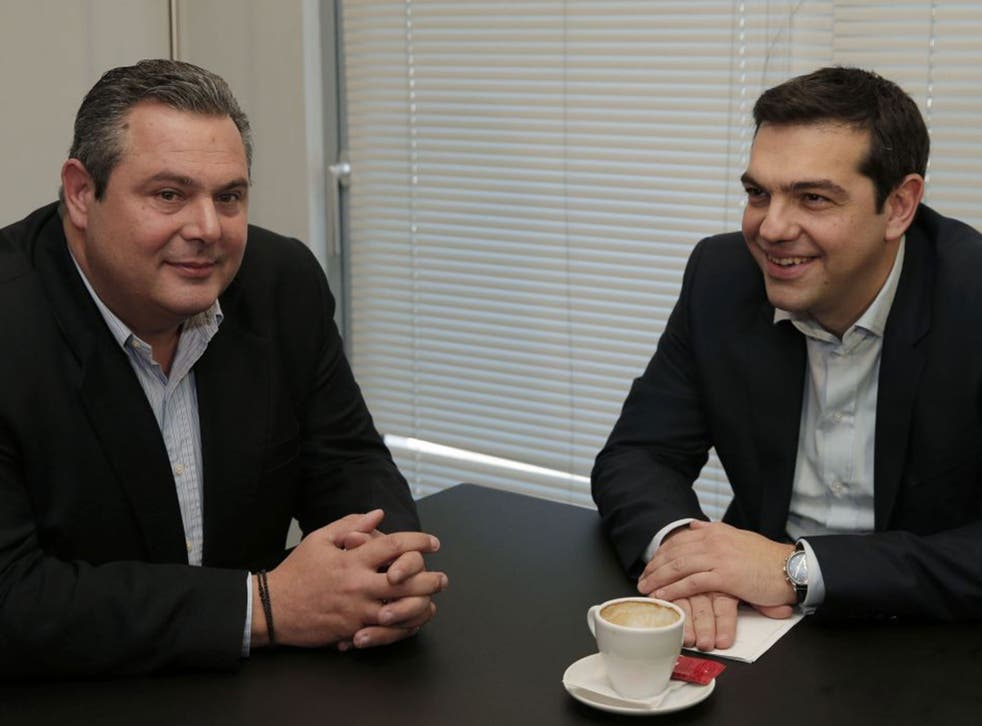 Alexis Tsipras, right, leader of Greece's left-wing main opposition Syriza party, and Panos Kammenos, chairman of the right-wing Independent Greeks party
