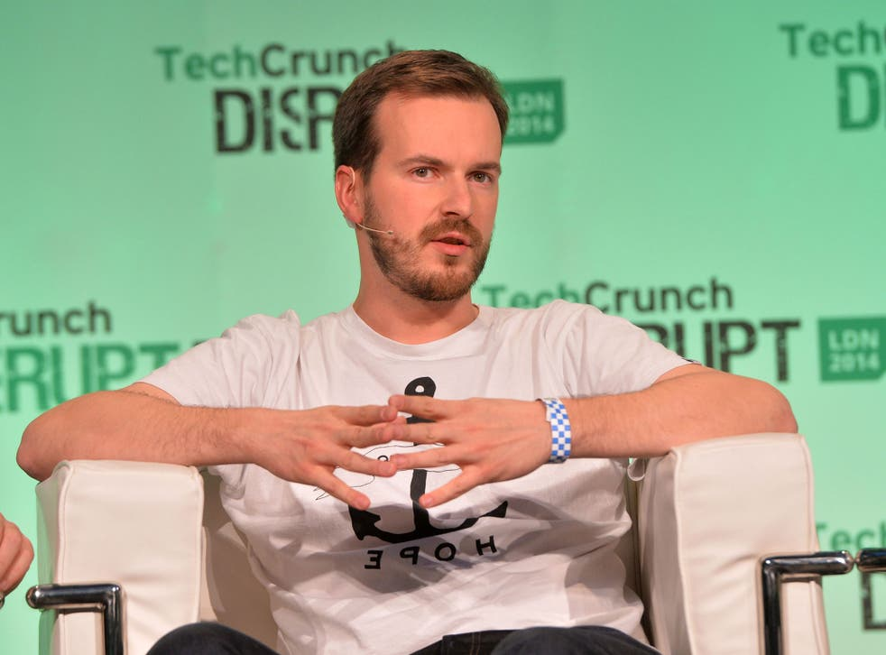 TransferWise co-founder Taavet Hinrikus appears on stage at the 2014 TechCrunch Disrupt Europe/London, at The Old Billingsgate on 21 October, 2014, in London, England