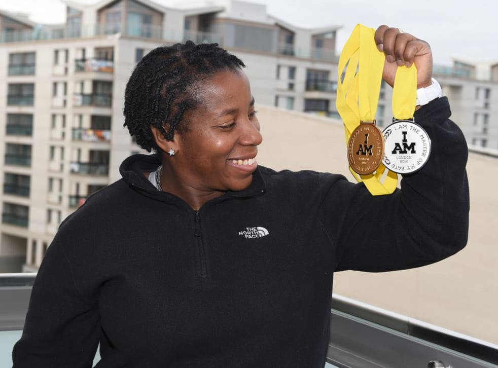Former servicewoman Maurillia Simpson with the medals she won at last year's Invictus Games (Jeremy Selwyn/Evening Standard)