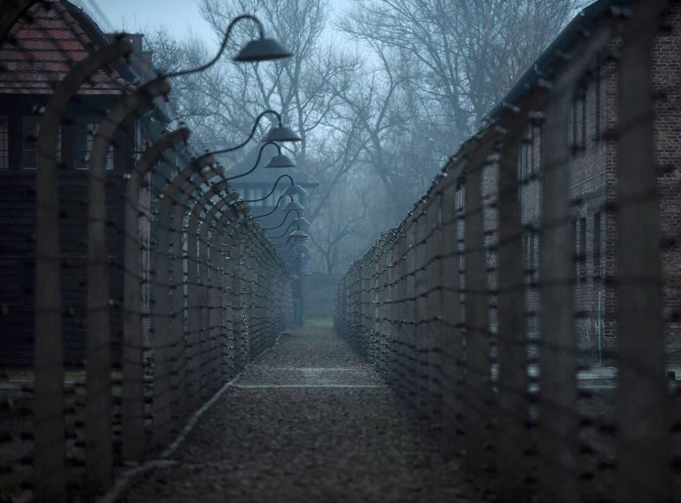 The main gate entering the Nazi Auschwitz death camp