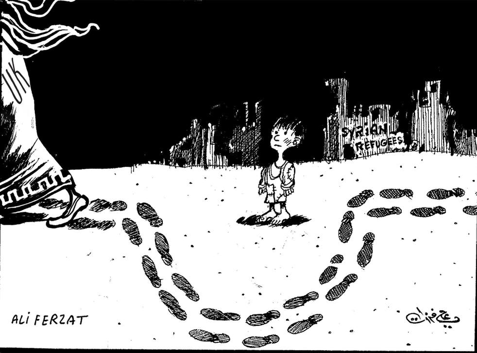 The cartoon depicts the UK (far left) walking around a Syrian child refugee