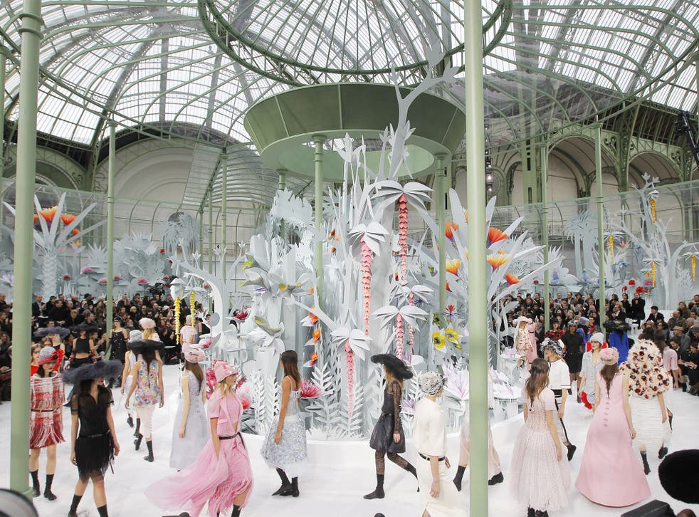 Chanel's spring/summer haute couture show, staged in a Paris 'garden'