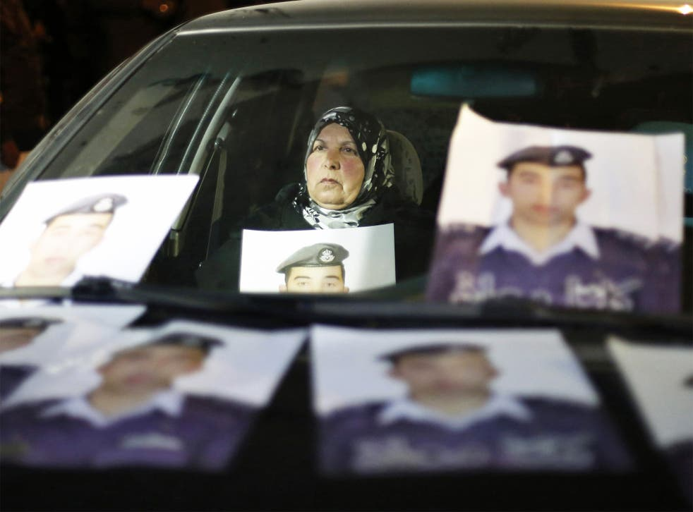 The mother of Jordanian pilot Muath al-Kasaesbeh at a demonstration in Amman, when the Jordanian government was urged to negotiate with Isis for the release of her son