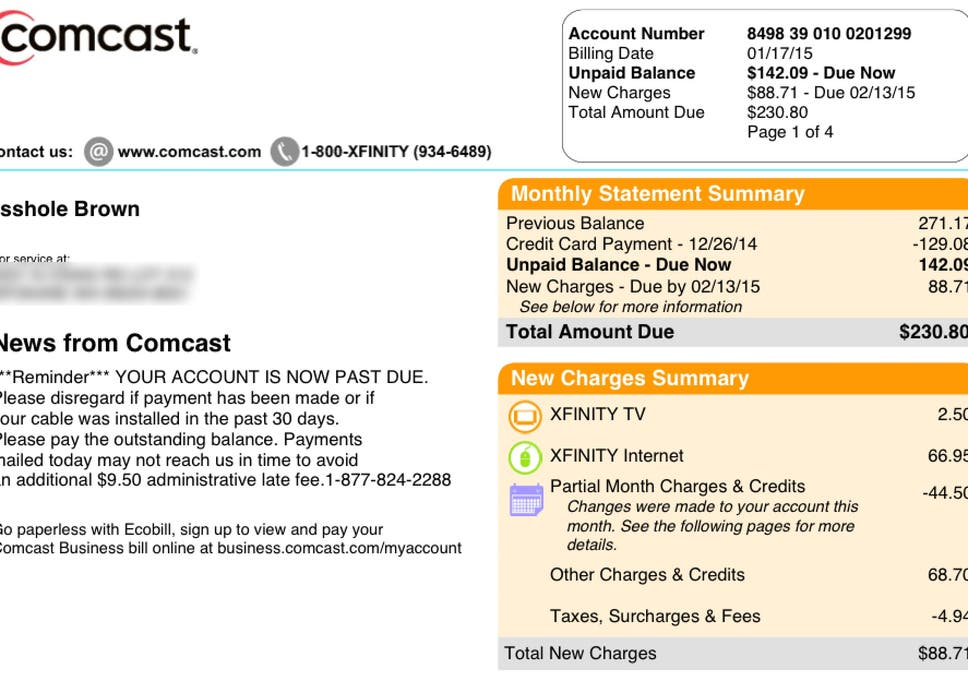 Comcast changes customer's name to 'Asshole' on bill | The