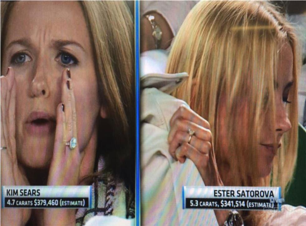 ESPN footage showed a split-screen Murray's partner Kim Sears and Berdych's partner Ester Satorova 'sporting' their jewellery