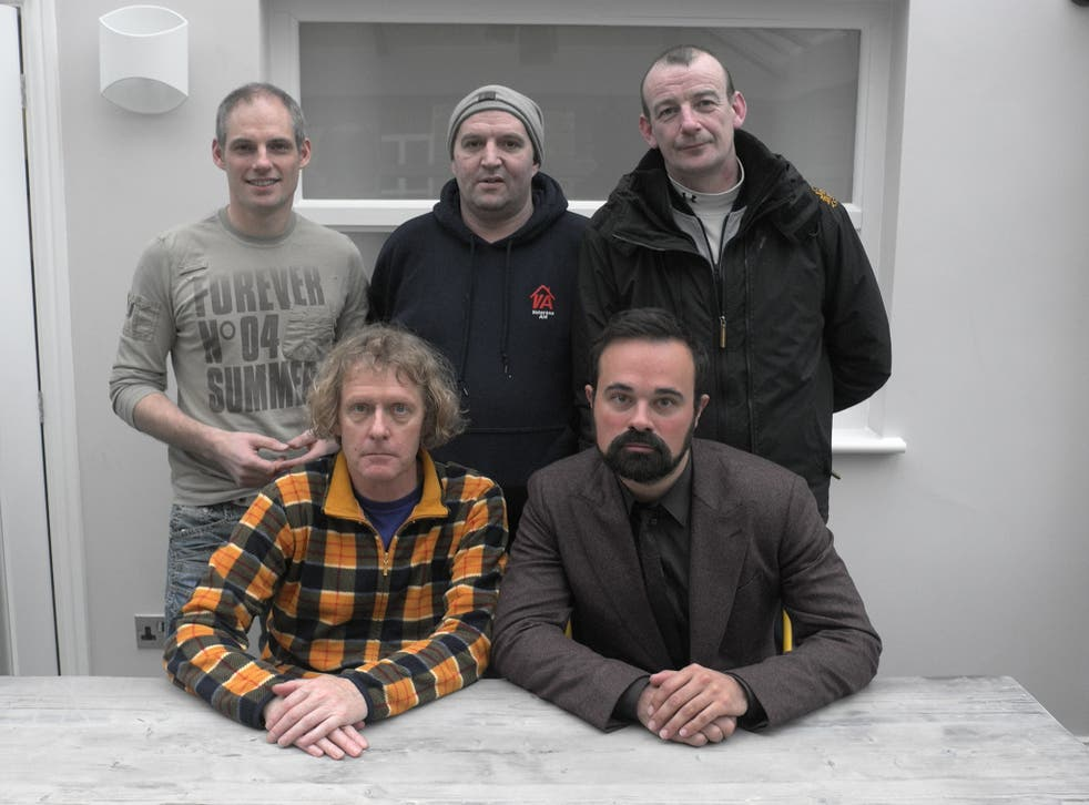 The veterans Mark Hayward, Hugh Thompson and Sean Staines (back) with Grayson Perry (front left) and Evgeny Lebedev