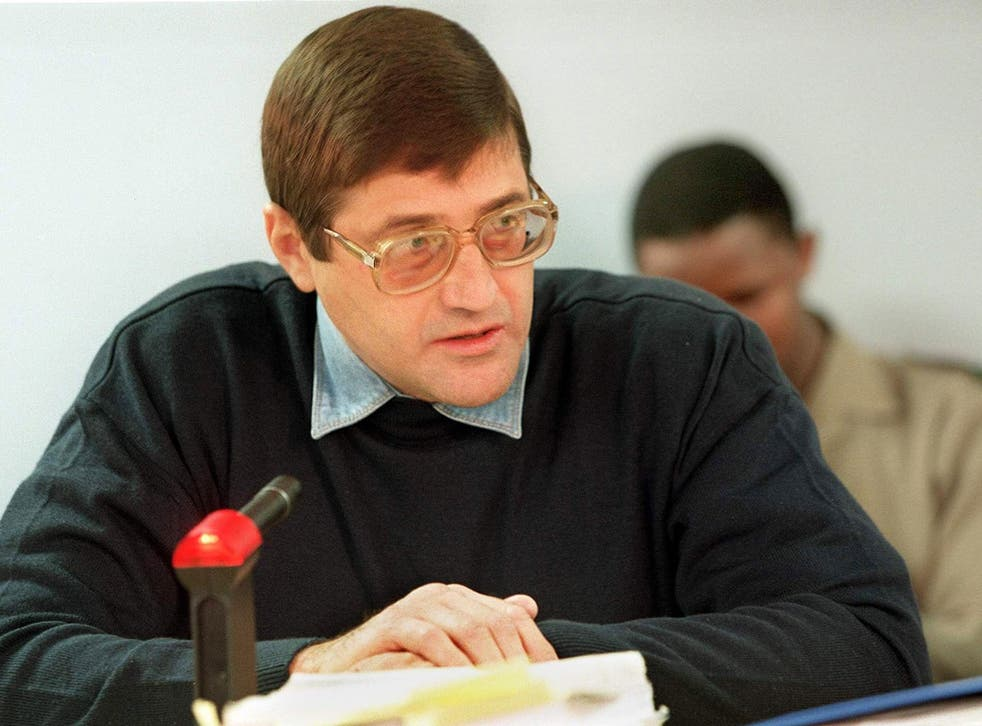Eugene De Kock a former Vlakplaas commander speaks to the judge at a Truth and Reconcilation Commission in 1999