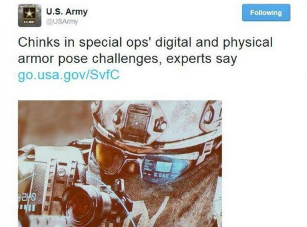 The US Army tweet which provoked the accusations has since been deleted