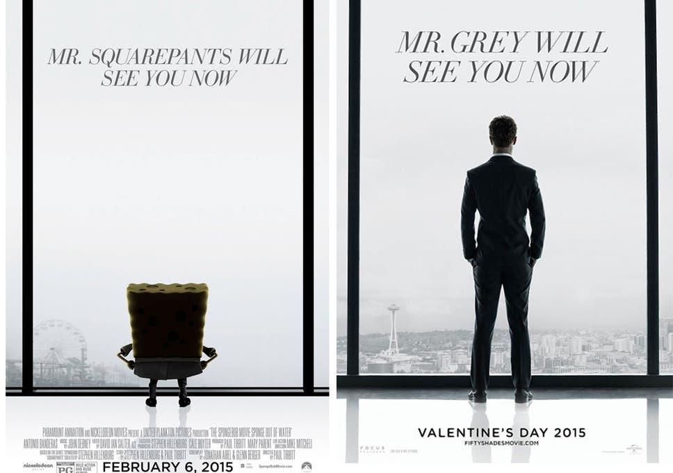 Spongebob Squarepants Film Posters Spoof Fifty Shades Of Grey Movie And Jur Ic World