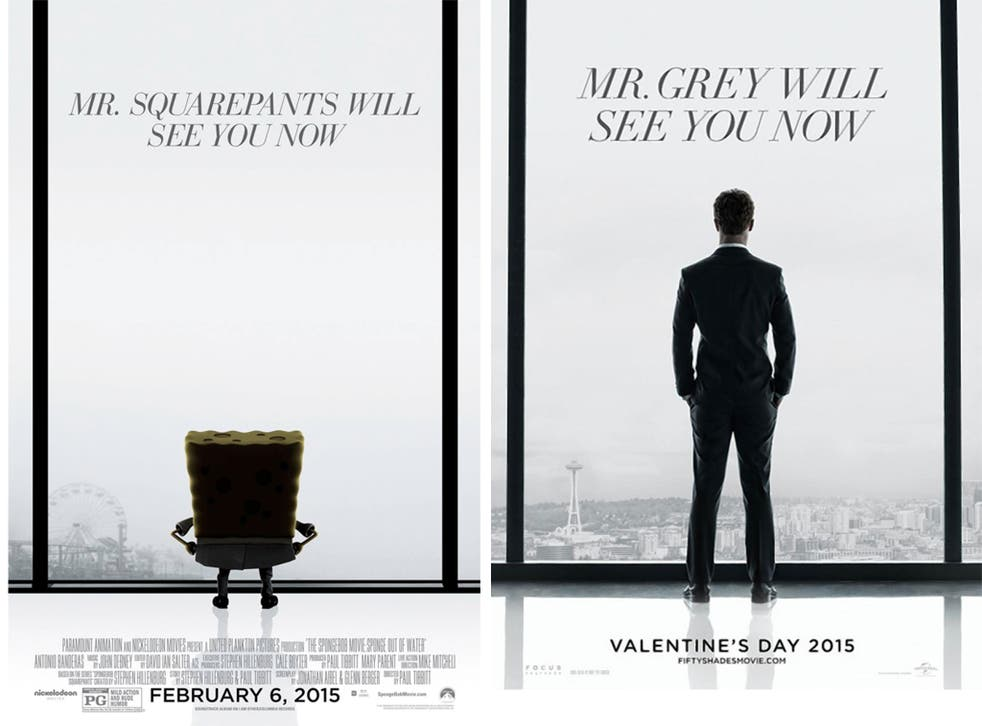 SpongeBob Squarepants spoofs the Fifty Shades of Grey poster