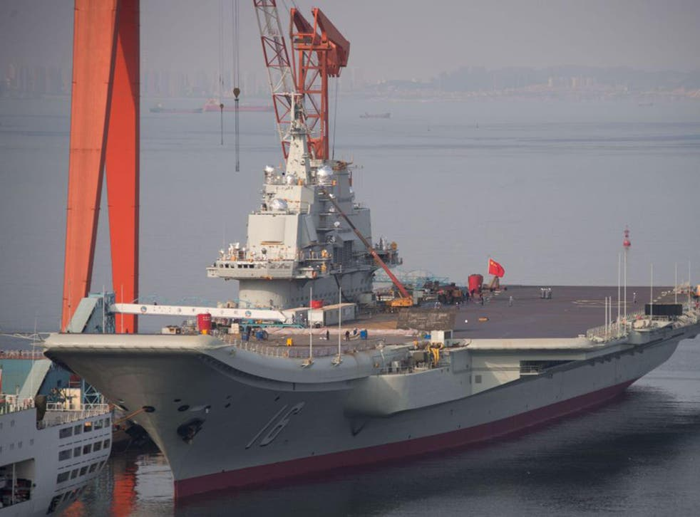 China's 'Liaoning' aircraft carrier at the port of Dalian