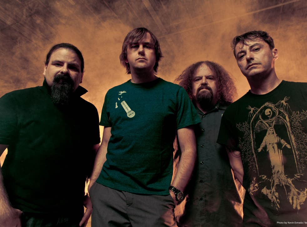 Barney Greenway (second left) with British grindcore band Napalm Death
