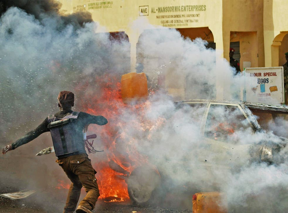 A female suicide bomber blew herself up on Monday near Gombe stadium in the north-east a few minutes after the Nigerian President Goodluck Jonathan left a rally there. One person was killed