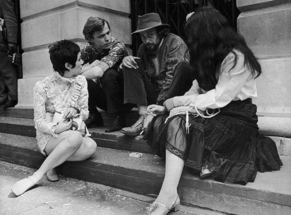 Hopkins, second right, with friends on the steps of St Pancras Registry Office after his wedding to Suzy Creamcheese had been called off for the second time