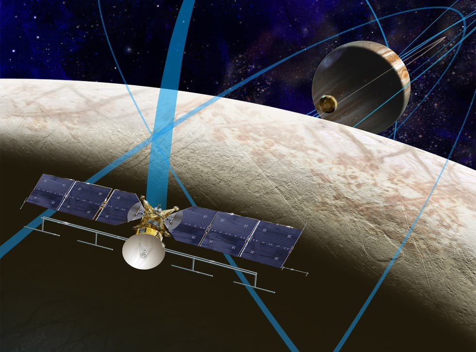 An illustration of the proposed Europa Clipper performing a fly-by over Europa