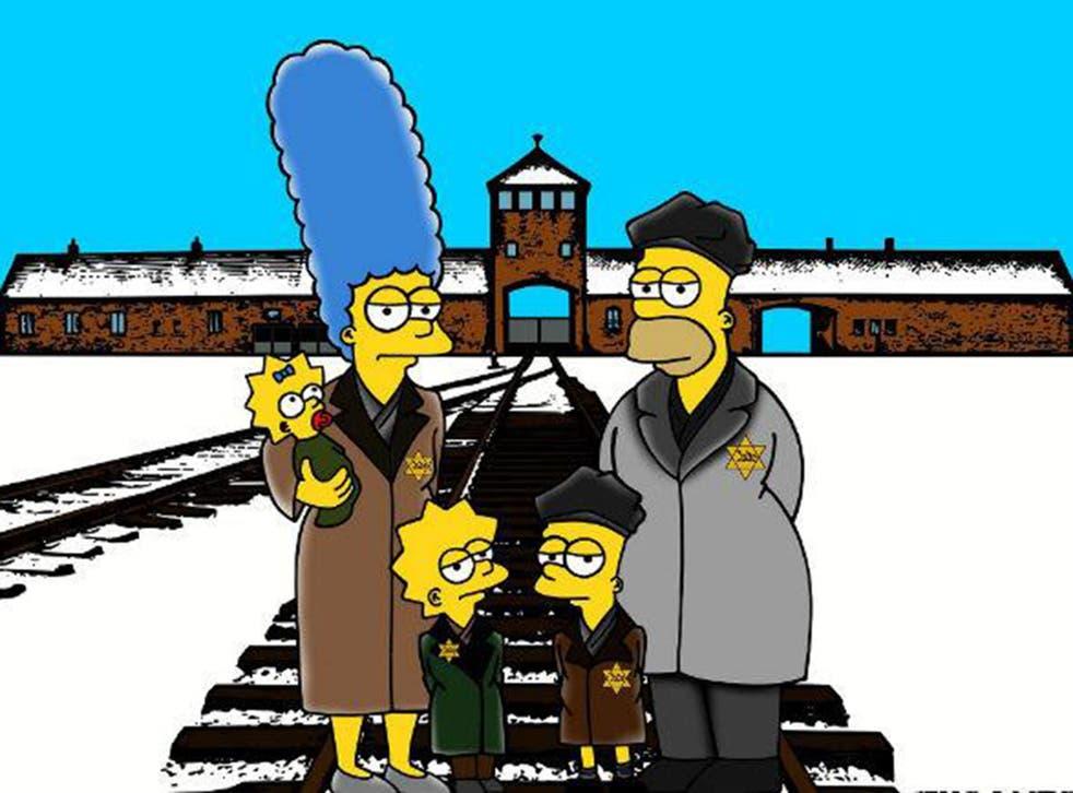 The Simpsons redrawn as Auschwitz prisoners in aleXsandro Palombo's harrowing cartoons