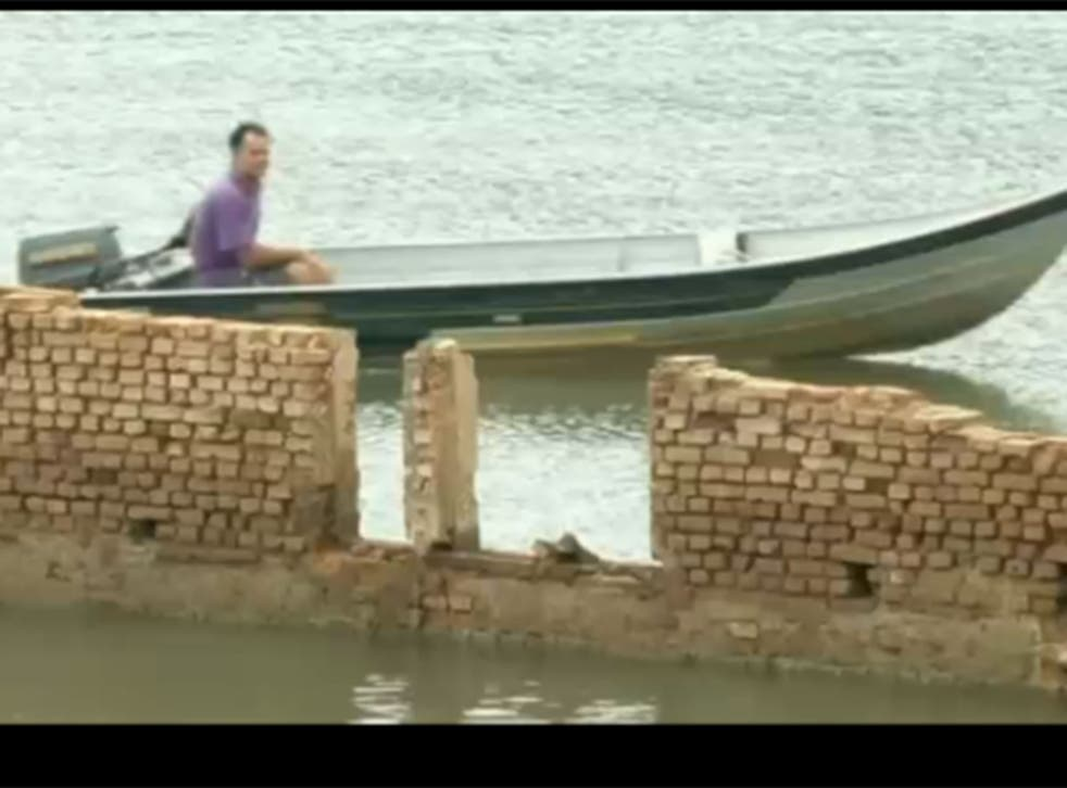 The town was rediscovered after water levels dropped in the Sao Paulo