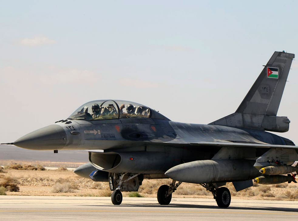 A Royal Jordanian Air Force plane takes off from an air base to strike the Islamic state in the Syrian city of Raqqa