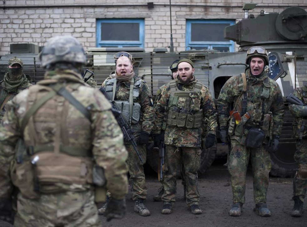 A battalion of Ukrainian volunteers during their military training in Azov near Mariupol, yesterday