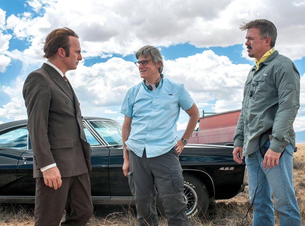 From left: Bob Odenkirk, who plays Saul Goodman, with writers Peter Gould and Vince Gilligan on the set of 'Better Call Saul'
