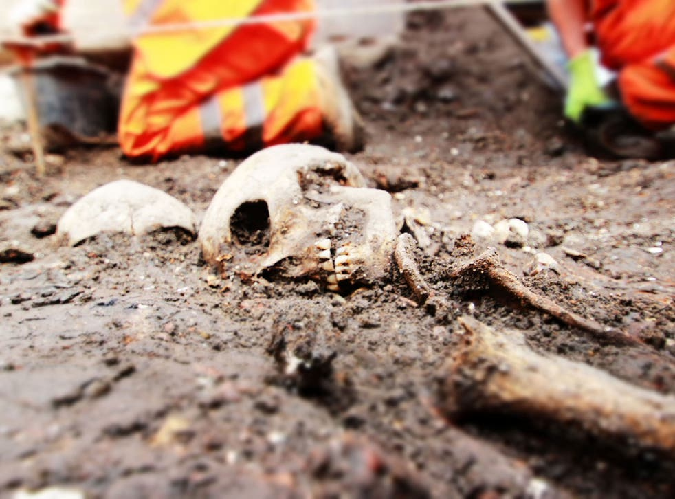 Archaeologists at the Bedlam burial site in Liverpool Street, central London, part of excavations for the Crossrail project