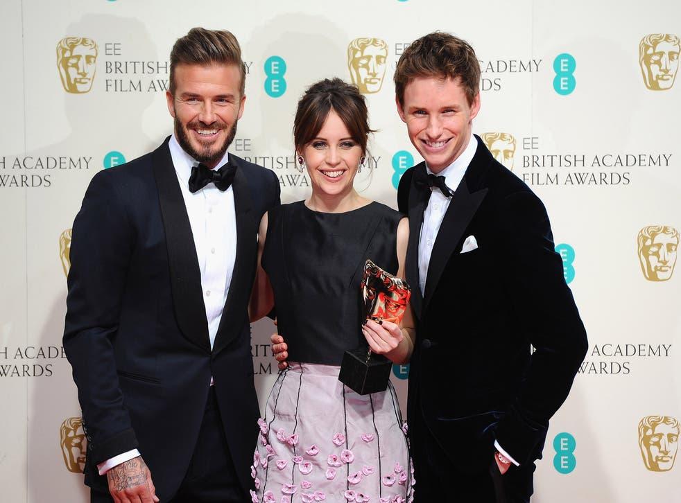 David Beckham with Felicity Jones and Eddie Redmayne in the Baftas winners room