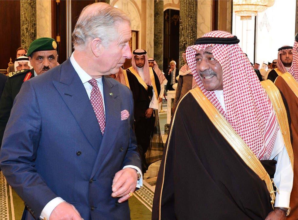 Prince Charles talks with the Saudi Crown Prince, Muqrin bin Abdulaziz al-Saud