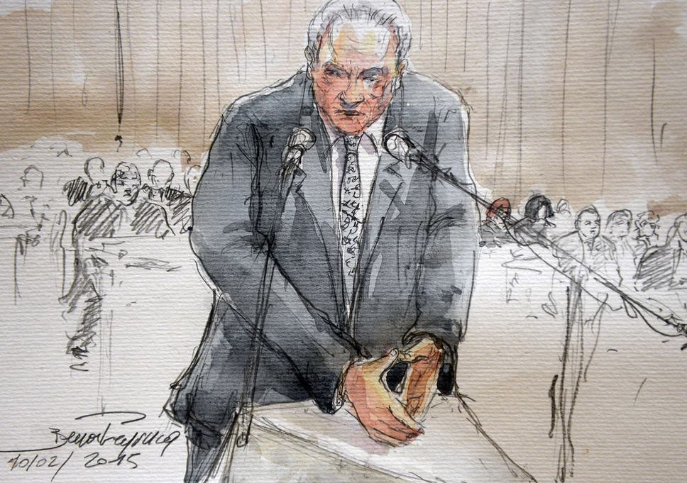 A court sketch of Dominique Strauss-Kahn testifying at Lille's courthouse