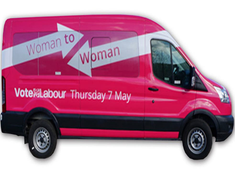 The 'burgundy end of pink' mini-bus which will be used to launch the Woman to Woman campaign