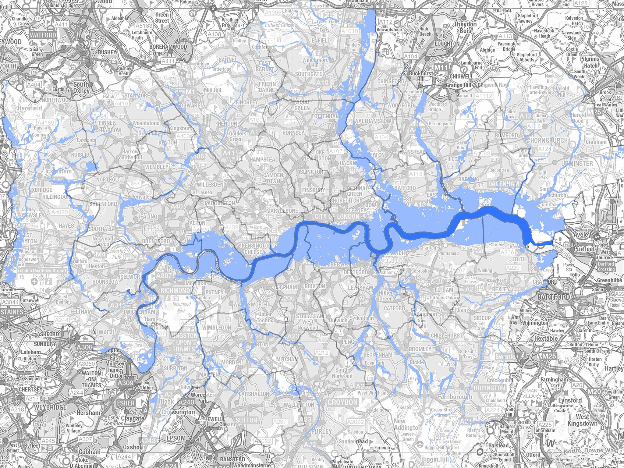 London flood risk: Map shows areas of the capital most in ...